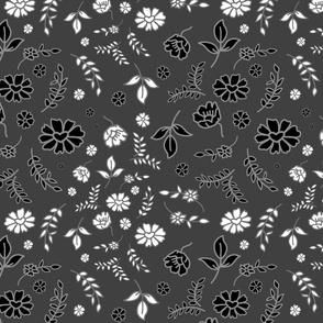 Mimi's Fleurs de Chintz #2 - charcoal grey, medium