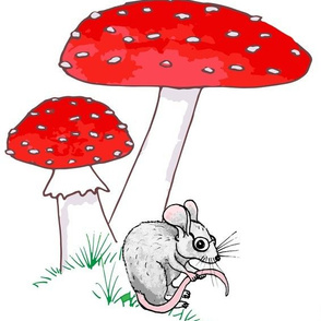 Whimsical Toadstool & Mouse on White Large Scale