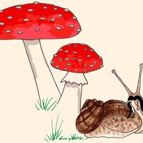 Whimsical Toadstool & Snail on Cream Large Scale