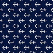 Nautical anchors navy and white fabric