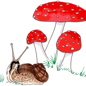 Whimsical Toadstool & Snail on White Large Scale