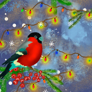 Bullfinches on spruce branches, seamless pattern. Rowan branch. New year winter pattern for printing on fabric, paper, gift wrapping.
