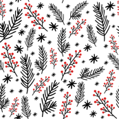 Christmas Florals - Black & White - Small Scale
