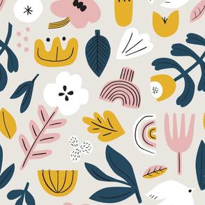 MEDIUM folk pattern in grey
