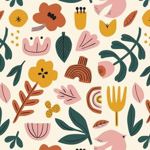 MEDIUM folk pattern in cream