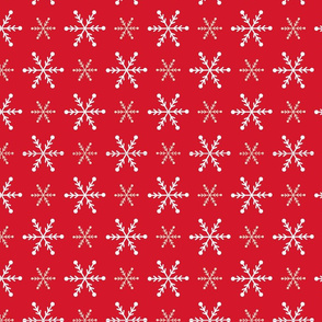 Christmas snowflakes red white
