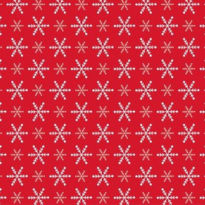 Christmas snowflakes red white small