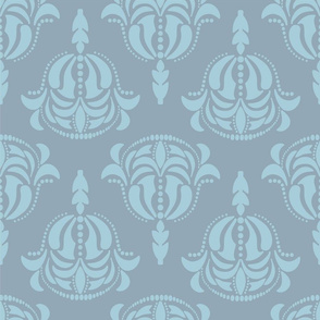 Damask 22 in blue gray