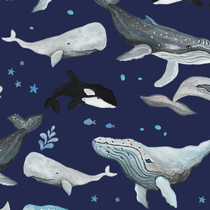 Whale Fun Navy Blue Ground (Larger Scale)