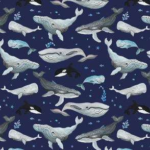 Whale Fun Navy Blue Ground (Medium Scale)