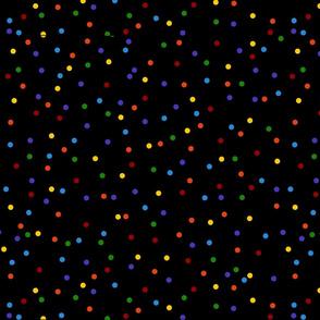 Multicolor Rainbow Dots on Black (larger)
