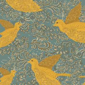 Seamless pattern with birds. Birds with patterns on the wings. Ornament with swirls.