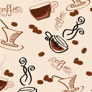 Coffee seamless print with mugs and coffee beans. Flavored coffee. Pattern for printing on textiles for cafe and home.