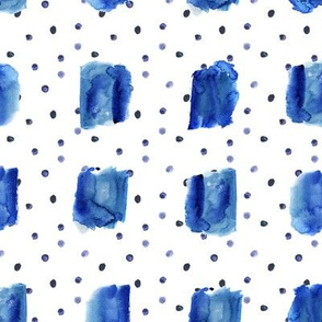 Indigo watercolor brush stroke squares and dots