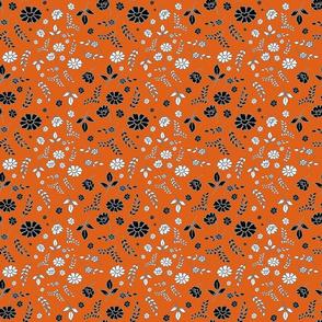 Mimi's Fleurs de Chintz #2 - pumpkin orange, small