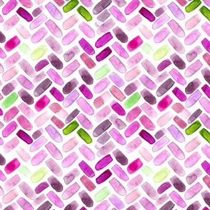 Watercolor herringbone in orchid violet and green