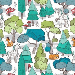 Small scale // Geometric whimsical wonderland // white background green forest with unicorns foxes gnomes and mushrooms