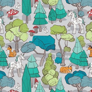 Small scale // Geometric whimsical wonderland // grey background green forest with unicorns foxes gnomes and mushrooms