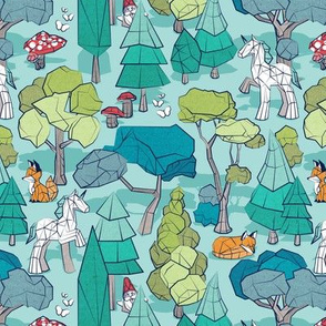 Small scale // Geometric whimsical wonderland // aqua background green forest with unicorns foxes gnomes and mushrooms