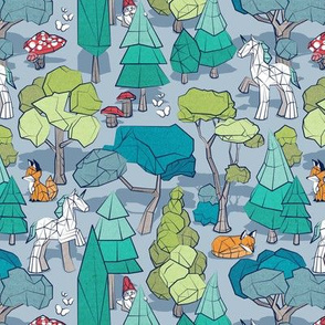 Small scale // Geometric whimsical wonderland // pastel blue background green forest with unicorns foxes gnomes and mushrooms