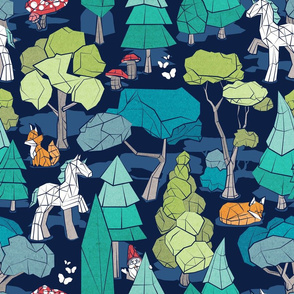 Geometric whimsical wonderland // normal scale // navy blue background green forest with unicorns foxes gnomes and mushrooms