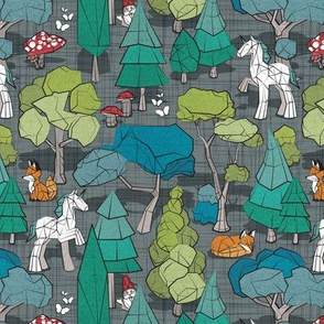 Small scale // Geometric whimsical wonderland // green linen texture background green forest with unicorns foxes gnomes and mushrooms