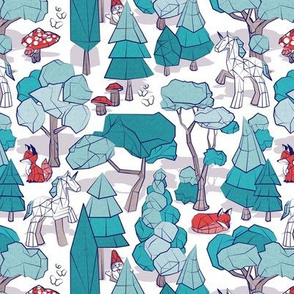 Small scale // Geometric whimsical wonderland // white background teal forest with unicorns foxes gnomes and mushrooms