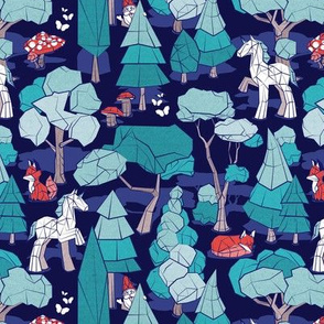 Small scale // Geometric whimsical wonderland // navy blue background teal forest with unicorns foxes gnomes and mushrooms