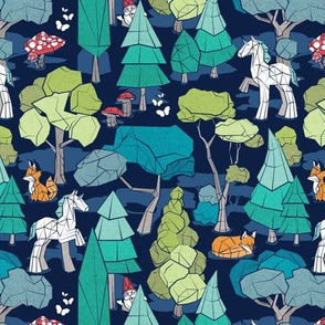 Small scale // Geometric whimsical wonderland // navy blue background green forest with unicorns foxes gnomes and mushrooms