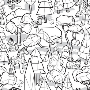 Normal scale // Geometric whimsical wonderland // black and white colouring book forest with unicorns foxes gnomes and mushrooms