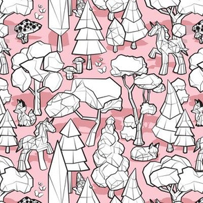Small scale // Geometric whimsical wonderland // pastel pink background black and white colouring book forest with unicorns foxes gnomes and mushrooms