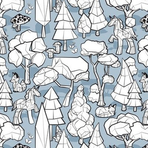 Small scale // Geometric whimsical wonderland // pastel blue background black and white colouring book forest with unicorns foxes gnomes and mushrooms