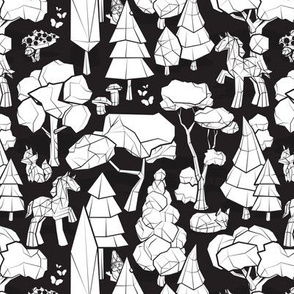 Small scale // Geometric whimsical wonderland // black background white forest with unicorns foxes gnomes and mushrooms