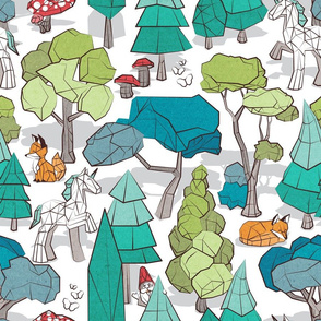 Normal scale // Geometric whimsical wonderland // white background green forest with unicorns foxes gnomes and mushrooms