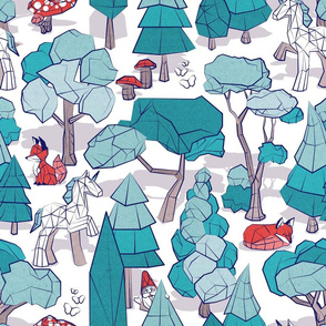 Normal scale // Geometric whimsical wonderland // white background teal forest with unicorns foxes gnomes and mushrooms