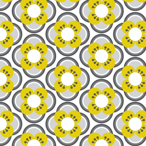 70s Flowers yellow and grey