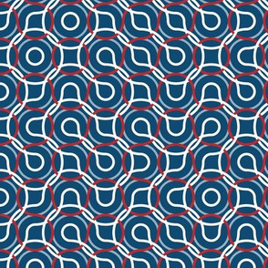 Nautical truchet - curved abstract white-red on navy 2 small