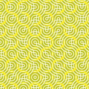 Truchet lines - curved abstract green-white-yellow small