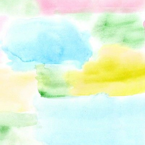 Watercolor texture in aqua, pink, green, mustard