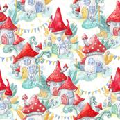 Whimsical Mushroom Village - Smaller