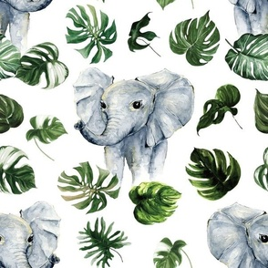 tropical watercolor elephant