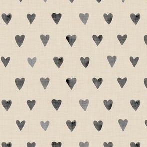 Charcoal Hearts on Bone Linen