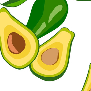 Seamless vector pattern with hand drawn avocados on a white background.