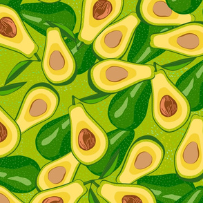 Seamless pattern with avocado. Violet background with exotic fruits. Tropical. Healthy food illustration. Sliced avocado and whole avocado. Organic, vegan, raw product.