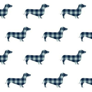 doxie plaid fabric - dachshund fabric, dachshund silhouette, dog silhouette, dog fabric - blue