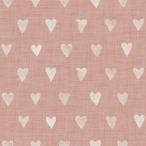 Pearl Hearts on Powder Blush Linen