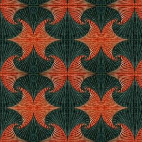 Square Spirals Rust and Forest Green - mirror