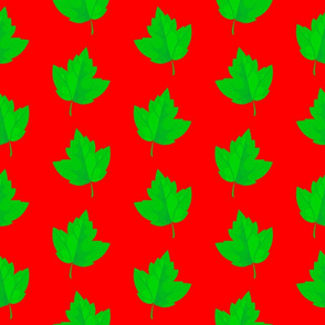 Green Leaves with Red Background (Large Size)