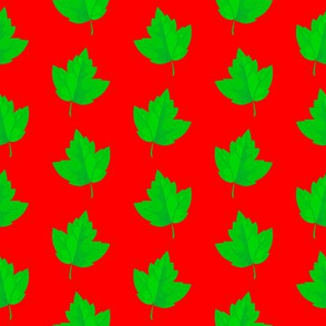 Green Leaves with Red Background (Small Size)
