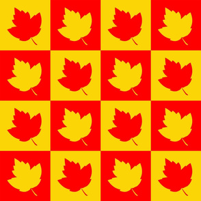 Leaf Silhouettes Checkered Red & Yellow (Large 5 inch squares)
